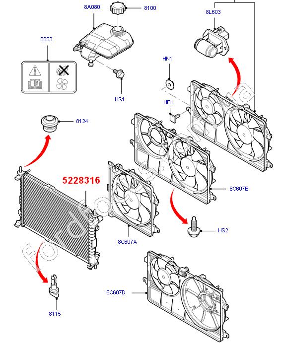 52 Ford Transit Connect 1 8td Swb: 5228316. радиатор 1.8TD (703x389x26) 2003-09г () для Ford Transit Connect (Форд Транзит Конект