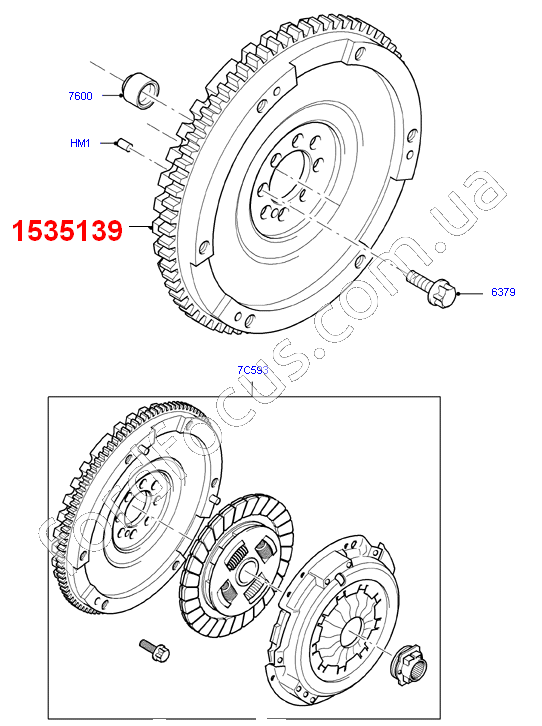 1535139 flywheel 2.4TDCI (135-140PS) Mechanics (deep.23мм-thickness.61мм) (1535139)