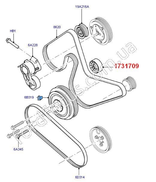 12 Ford Transit 2 2tdci 280s Swb: 1731709. ролик ремня генератора 2.0-2.2TDCI (+AC) (1731709