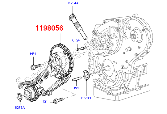 1198056 chain from cassette Injection pump 1.8TDCI (75-90PS) before 31,03,2008г (1198056)