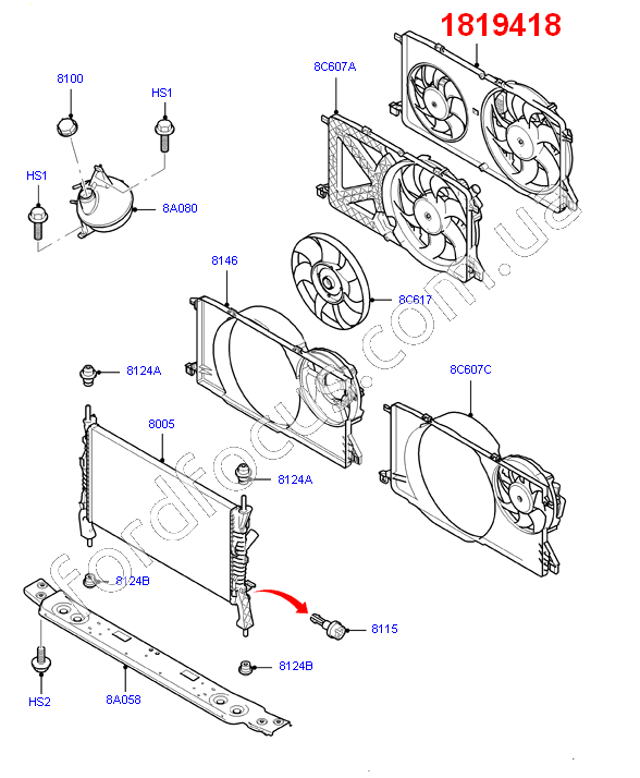 12 Ford Transit 2 2tdci 280s Swb: 1819418. дифузор радиатора 2.2TDCI (+КДЦ) (1819418) для