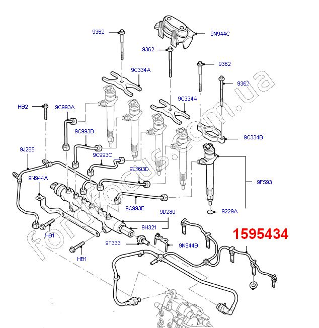 1595434  fuel line from injectors  refund  3 2tdci  u0434 u043b u044f