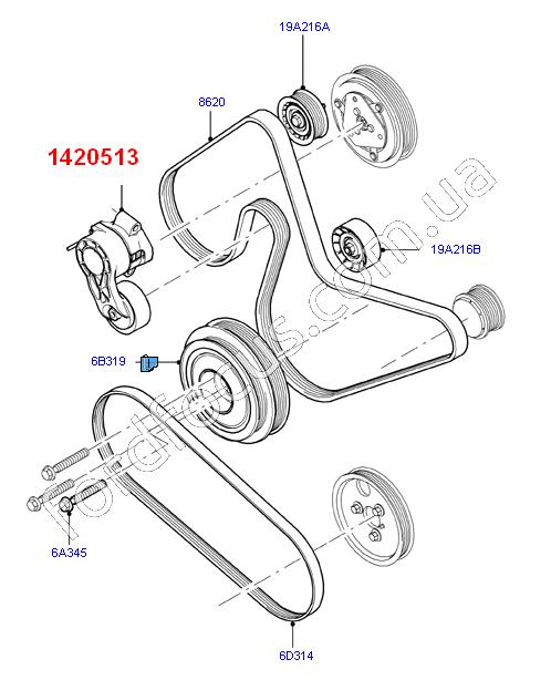 12 Ford Transit 2 2tdci 260s Swb: 1420513. натяжитель ремня генератора 2.2TDCI (1420513) для